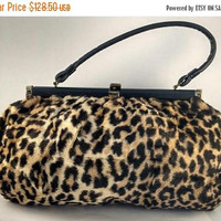 On Sale 1960's Vintage Leopard Faux Fur Handbag Satchel Bag * Retro Rockabilly Mid Century Purse * Old Hollywood Regency Glamour