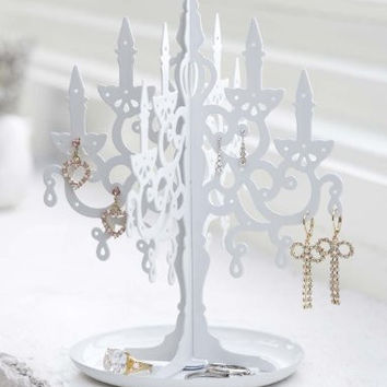 Unique White Metal Chandelier Candelabra Jewelry Stand Ring and Earring Jewelry Holder and Organizer