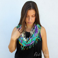 Mixed Fabric Boho Infinity Scarf (Indian Floral)