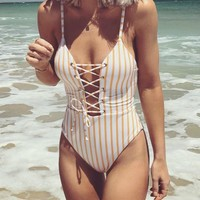Yellow Striped One Piece Bathing Suits