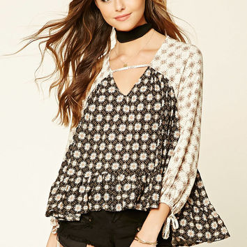 Floral Cutout-Neck Top