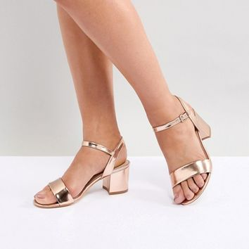 London Rebel Mid Block Heeled Sandals at asos.com