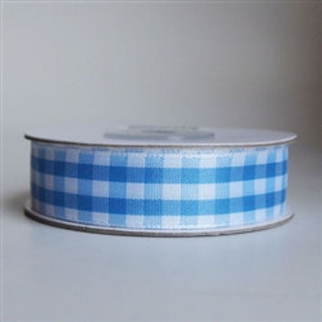 Gingham Checkered Ribbon, 5/8-inch, 15-yard, Light Blue