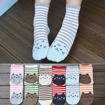 Cute Cat Socks Striped Women Cotton Fashion Girls Winter Outfit Pair Funny Cats