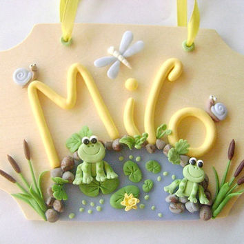 Kids Name Sign Personalized Kids NamePond Frog Door Sign Dragonfly Custom Name Sign Kids Gift Ideas Made To Order