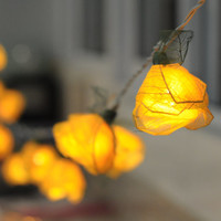 20 yellow handmade real leaf Rose flower leaf string light patio decoration wedding bedroom living room party lantern