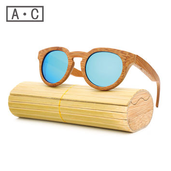 Ms packages mailed 2016 bamboo, wood retro fashion polarized light green natural sunglasses by hand