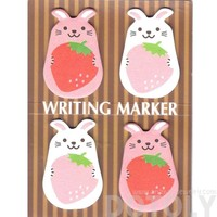 Chubby Bunny Rabbit and Strawberry Shaped Animal Memo Post-it Writing Markers | Stationery
