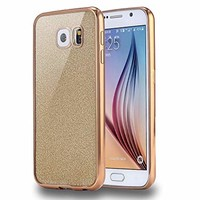 Connect Zone Gold Transparent Glitter Ultra Slim Protective Shockproof Back TPU Silicone Gel Case Cover for Samsung S8 with Screen Guard and Polishing Cloth