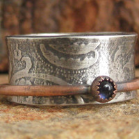 Sterling silver spinner ring Iolite wedding ring size 7 fidget worry anxiety