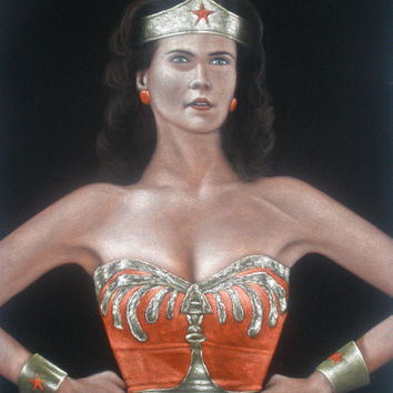 ON SALE DC Wonder Woman Linda carter old school tv series black velvet oil painting handpainted signed art
