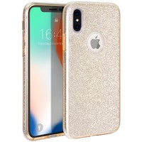 iPhone X Case, MILPROX iPhone X Glitter, Shiny Sparkly Silm Bling Crystal Clear , 3 Layer Hybrid, Anti-Slick/ Protective/ Soft Case for iPhone 10(2017)- 5.8 Gold