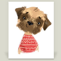 Border Terrier Art Print by HappyBlackCat on BoomBoomPrints