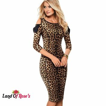 Leopard Printed Cold Shoulder O-Neck with Bow Bodycon Women Dress Size: 4-12