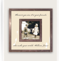"""Wherever You Are It Is Your Friends 3""""x 3"""" Copper & Glass Photo Frame"""