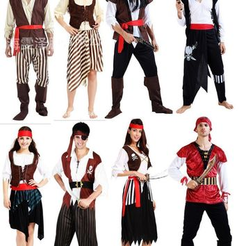 Cheap Fashionable adult men women Skeletons pirate costume halloween party dress up co