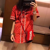 """Louis Vutitton × Supreme"" Women Casual Fashion Denim Letter Logo Stripe V-Neck Short Sleeve Cardigan Tops"