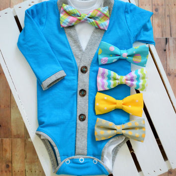 Spring Easter Cardigan Onesuit: Turquoise with Gray Trim with Interchangeable Tie Shirt and Bow Tie