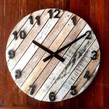 Rustic & Antique Round Wall Clock of Reclaimed Wood - Beach Sand