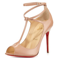 Talitha Patent T-Strap Red Sole Pump, Nude - Christian Louboutin