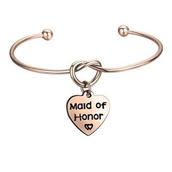 FEELMEM Bridesmaid Jewelry Bridesmaid Gifts Simple Love Knot with Heartshaped Engraved Message Charm Bangle Bracelet Wedding Wishes Gift for Women Girl