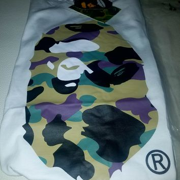 cc qiyif A Bathing Ape Big Ape Head White Shirt Green Camo