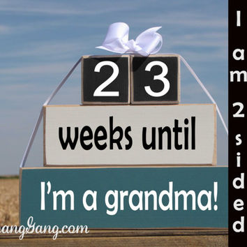 "Pregnancy announcement chalkboard countdown. Wood Stacking Blocks. ""weeks until I'm a Grandma"". Mother's Father's Day. BLUE, BLACK"