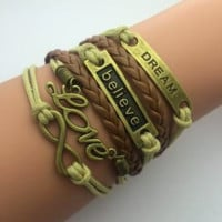 2014 new Fashion jewelry leather Double infinite multilayer bracelet