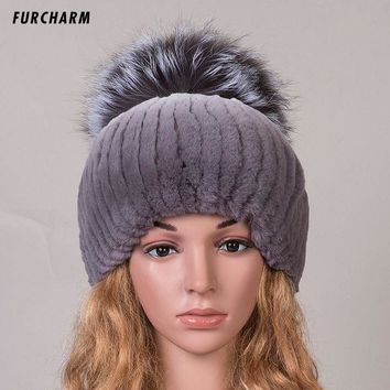 ONETOW Winter Women Fur Hat Knitted Real Fox Fur Caps with Fox Fur Pom Pom Ball Tops Beanies 2016 New Fashion Women Causal Fur Hats