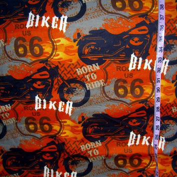 Flannel fabric with flames motorcycle Route 66 biker cotton quilt quilting sewing material to sew by the yard crafting craft hard to find