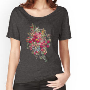 "'""Bouquety""' Women's Fitted V-Neck T-Shirt by Carlos Tato"