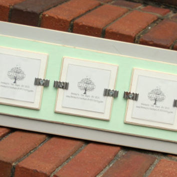Triple 3x3 Picture Frame - Distressed Edges -  Double Mats - Smooth Wood - Light Gray, Mint Green & White