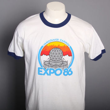 80s EXPO 86 TSHIRT / Soft Thin Vancouver Canada  RINGER Tee, l - xl