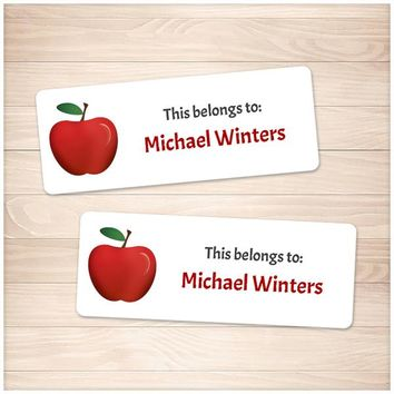 Red Apple Name Labels for School Supplies - Printable