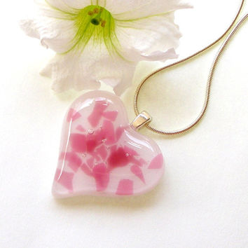 Glass Heart Pendant - Fused Glass Jewelry - Pink and White