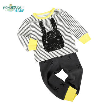 New spring cotton baby boy clothing long sleeve t shirts + pants infant girl sets kids clothes for autumn newborn sleepers