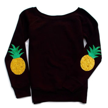 Pineapple Elbow Patch Sweatshirt Jumper - Black