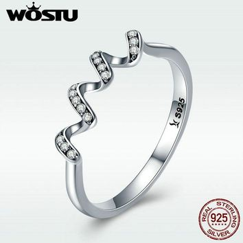 WOSTU 100% 925 Sterling Silver Geometric Wave Finger Rings for Women Wedding Engagement Sterling Silver Jewelry Gift DXR379