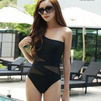 One Piece Swimsuit Vintage Swimwear Beach Mesh One Shoulder Swimsuit Black Sexy