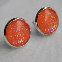 Neon Orange Cabochon Earrings with Silver Plated Settings Womens Fashion Earrings Glass Cabochon Jewelry