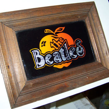 Vintage The Beatles...Glitter Art Foil Sign...Groovy... Mod Wall Decor...Masculine Man Cave Decor..Retro Bareware...Rock and Roll...Wall art