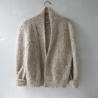 80s cardigan sweater. speckled oatmeal sweater.