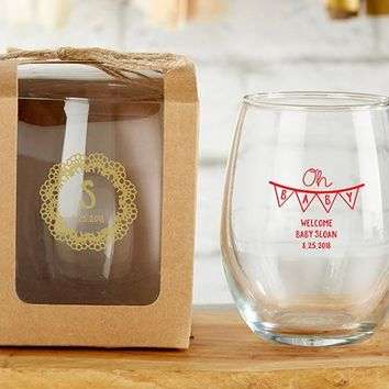 Personalized 9 oz. Stemless Wine Glass - Rustic Charm Baby Shower