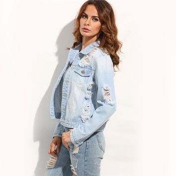 Women's Long Sleeve Casual Coat  Blue Buttons Ripped Back Lapel  Sexy Cut Out Denim Jacket