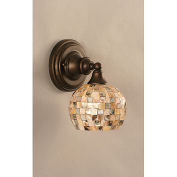 Toltec Lighting 40-BRZ-407 Bronze Wall Sconce with Seashell Glass