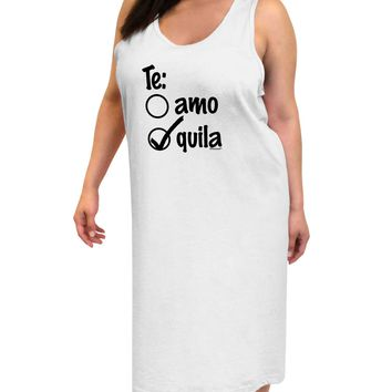 Tequila Checkmark Design Adult Tank Top Dress Night Shirt by TooLoud