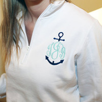 Monogram Anchor 1/4 Zip Sweatshirt Personalized Preppy Nautical Sweater