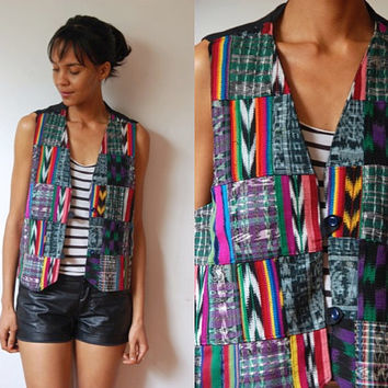 Vtg Guatemalan Tribal Mix Print Buttoned Cotton Vest