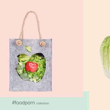 Felt tote, Felt Bag, Tote Bag, Felted bag, Market Bag, Funny bag, Eco friendly bag, bag with apple transparent, Joga bag, Funny bag, totes