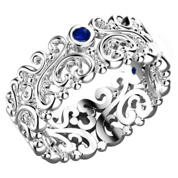 Leaf ring Edwardian Ring Filigree Wedding band white Gold Floral Band 3 Blue Sapphires Milgrain Ring 7mm width Flower Band Eternity Ring